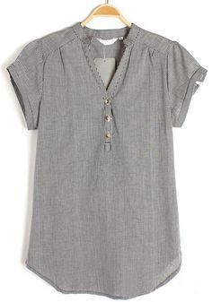 ++ Multicolor Plaid V-neck Short Sleeve Chiffon Blouse