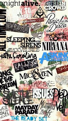 Pierce the Veil, Bring Me The Horizon, Falling in Reverse, Breathe Carolina, Paramore, Sleeping With Sirens, My Chemical Romance, Panic! At The Disco, All Time Low, Tonight Alive!!!!!