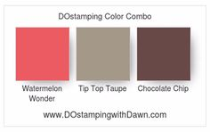 DOstamperSTARS Thursday Challenge Cool Treat Double Ribbon Card Stampin' Up! color combo: Watermelon Wonder, Tip Top Taupe, Chocolate Chip Ribbon Cards, Bathroom Towels, World Of Color, Stampin Up Cards, Color Inspiration, Color Combinations, Challenges, Color Charts, Treats