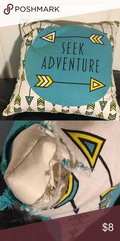 """""""Seek Adventure"""" Throw Pillow White throw pillow with """"Seek Adventure"""" quote on it. Black, yellow, and turquoise color scheme. Minor flaw in the top left corner. Can be sewed, but I'm not talented enough to do it! Tj Maxx Other"""