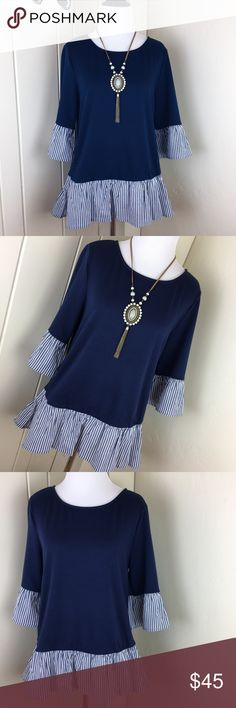 Nordstrom's Pleione navy bell sleeve ruffle top Brand new with tags. Size small. Beautiful bell sleeve ruffle top. Beautiful blue colors. A little hi/low going on. A gorgeous top! Nordstrom's Pleione navy bell sleeve ruffle top. Nordstrom Tops
