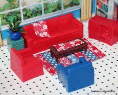 "Marx SWEET LIVING ROOM w/HANDMADE RUG & PLANT Vintage Dollhouse Furniture 1/2""  #Marx"