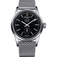 BREITLING Transocean 38 watch ($5,590) ❤ liked on Polyvore featuring men's fashion, men's jewelry, men's watches, mens leather strap watches and mens stainless steel watches