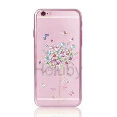 DITA Colored Drawing Diamond Electroplated Soft TPU Back Case for iPhone 6/ 6S - Flowers& Butterflies