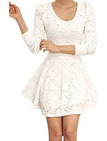 Allegra K Ladies Scoop Neck Long Sleeve Casual Pullover Lace Skater Dress