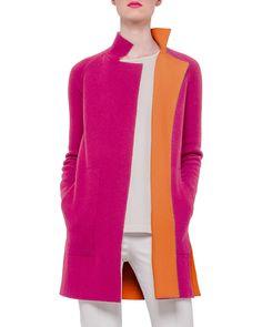Reversible Long-Sleeve Cashmere Colorblock Coat, Rose/Zinnia (Pink/Zinnia) - Akris