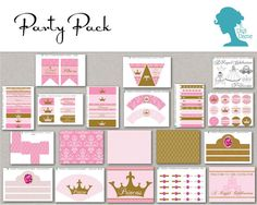 Digital Party Printables: Pink & Gold Royal Princess Party Value Pack INSTANT DOWNLOAD