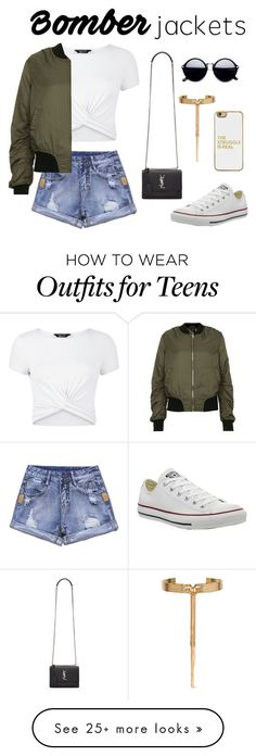 """Untitled #58"" by danielleuhrle on Polyvore featuring New Look, Topshop, Converse, Yves Saint Laurent, BaubleBar, Eddie Borgo and bomberjackets"