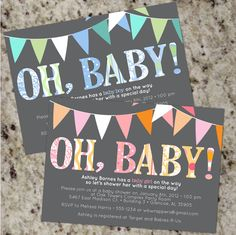 OH BABY  Mod Baby Shower Invitations  Boy or Girl or by Whirlibird, $12.99