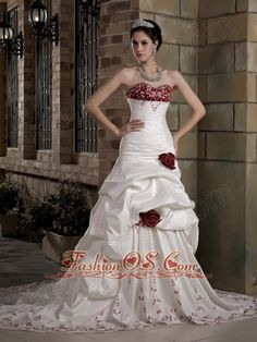 Graceful Wedding Dress A-line Sweetheart Embroidery Hand Made Flowers Chapel Train Taffeta- $195.89  http://www.facebook.com/quinceaneradress.fashionos.us  http://www.fashionos.com   zipper up back wedding gown | wedding gown with chapel train | sweetheart wedding gown | taffeta fabric bridal gown | white bridal gown for hall wedding | fashionable wedding gown |