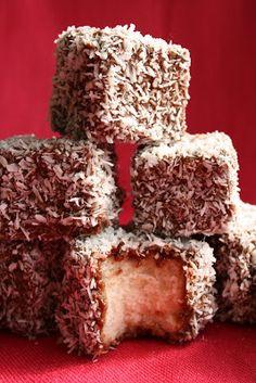 Lamingtons...Best sweet snack food of all time....coconut chocolate spongecake