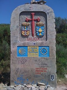 Camino de Santiago de Compostela | Galicia, Spain  -- the weather wasn't this nice the day we passed this marker. But, it was still a marvelous passage.