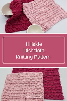 Hillside dishcloth knitting pattern features alternating garter stitch and stockinette stitch rows with a garter stitch border. A very quick & easy knitting pattern and beginner friendly. #knitsoeasy #knitted washcloth pattern #simple washcloth knit pattern #knitting pattern #knit dishcloth pattern easy