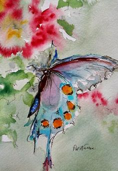 One Tiny Pearl Butterfly watercolor paintings | Watercolour Butterfly – Artist Pat Warren