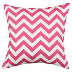 """Cotton pillow with a chevron motif. Made in Council Bluffs, Iowa.   Product: Set of 2 pillowsConstruction Material: Cotton cover and polyester fillColor: Candy pink and white Features:  Inserts includedMade in Council Bluffs, Iowa  Dimensions: 17"""" x 17"""" eachCleaning and Care: Hand or spot clean"""