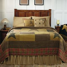 "The Stratton Bedding is a patchwork quilt design with stars and features ""stitch in the ditch"" quilting. Order these items at www.allysonsplace.com. See more country products in the September 2014 issue of Country Sampler: https://www.samplermagazines.com/detail.html?prod_id=78&cat_id=8"