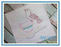Bird and Tea Cup Single Sketch Embroidery Design