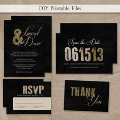 PRINTABLE Modern Black & Gold or Silver Glitter Wedding Invitation Set DIY Printable Files