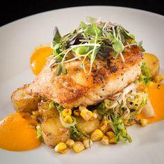 pescado del dia | corvina, vegetable medley, creamy ricotto sauce