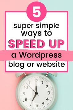 Is your blog or website slow? A slow site can annoy your readers and is terrible for your SEO. In this post, I'm going to give you 5 simple ways YOU can speed up your WordPress site. Even if you aren't tech savvy. Even if you're new to blogging. These beginner friendly tips will improve your site speed and decrease your bounce rate.  These beginner-friendly tips will improve your site speed. #wordpresstips #blog #bloggingtips #SEO #bouncerate #traffic #sitespeed
