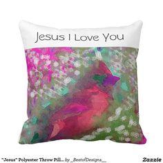 """""""Jesus"""" Polyester Throw Pillow 16"""" x 16"""""""