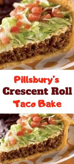 Ingredients: 2 crescent roll tubes 1 LB ground beef (or ground turkey) 1 packet of taco seasoning 1 cups grated cheddar cheese Shredded lettuce 1 or 2 diced tomatoes depending on size small can sliced olives if desired. Crescent Roll Taco Pie, Pillsbury Crescent Roll Recipes, Pillsbury Recipes, Taco Pie Recipe With Crescent Rolls, Taco Pie Recipes, Casserole Recipes, Mexican Food Recipes, Cooking Recipes, Mexican Dishes