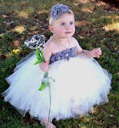 Flower girl dress Ivory and gray/silver by Theprincessandthebou, $74.00