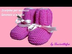 Scarpine per neonata lavorate a maglia (knitting baby booties) - YouTube