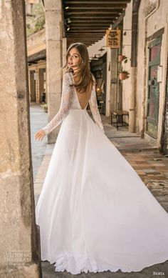 "berta fall 2019 muse bridal long sleeves bateau neck full embellishment romantic mini dress short wedding dress backless v back chapel train bv -- MUSE by Berta 2019 ""Barcelona"" Wedding Dresses Stone Fox Bride, Long Sleeve Wedding, Wedding Dress Sleeves, Lace Sleeves, Berta Bridal, Allure Bridal, Bridal Dresses, Wedding Gowns, Muse By Berta"