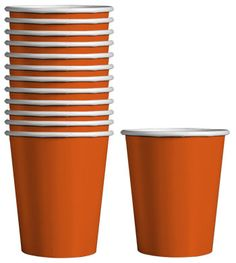 Hot/cold paper beverage cups are perfect for serving punch, juice, coffee, and more! Pair with napkins and plates for a coordinated theme — orange is perfect for any occasion such as graduations