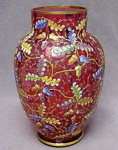 Moser Cranberry Glass Vase - Bohemian