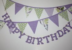 Purple Happy Birthday Bunting Banner fabric by FrogBlossoms