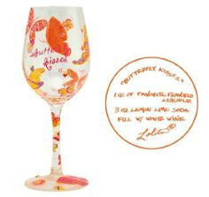 """Lolita Love My Wine Glass - Butterfly Kisses by Lolita. $22.95. Sure To Become A Favorite Wine Glass For The Recipient Of This Wonderful Gift. Recipe For A New Breed Of Wine Cooler Painted On Bottom Of Glass. Each Glass Comes In A Unique Gift Box. Hand Painted 15 Oz Wine Glass. From The Love My Wine Collection By Tracey Lolita Yancey. Santa Barbara Ceramic Design is proud to present """"Love my Wine"""" wine glasses by Lolita. Each hand painted Lolita Wine Glass features a..."""