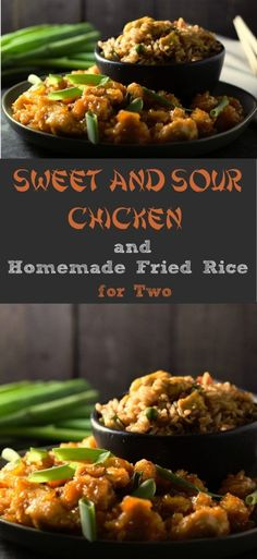 This Baked Sweet and Sour Chicken with Homemade Fried Rice for two is seriously the best! It's super easy and so delicious. #SweeAndSour #FriedRice #chicken #DinnerForTwo #LunchForTwo #RecipesForTwo
