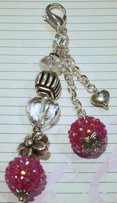Triple strand beaded key chain, purse dangle.