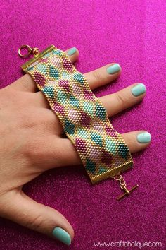 Peyote Stitch Cuff Bracelet PDF Pattern  Colourful Argyle