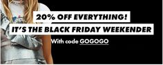 ASOS BLACK FRIDAY OFFER  20% off Everything with no minimum spend with promo code GOGOGO until Tuesday 9am. http://bit.ly/2gC5r8W  #blackfriday #asos #cybermonday