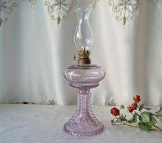Vintage Oil Lamp Purple Glass