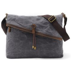 Genuine Leather Retro Shoulder Bags Gray Button Canvas Crossbody Bags Messenger Bags - Banggood Mobile