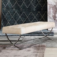 James Nickel & Leather Bench, Hair-on Hide #williamssonoma