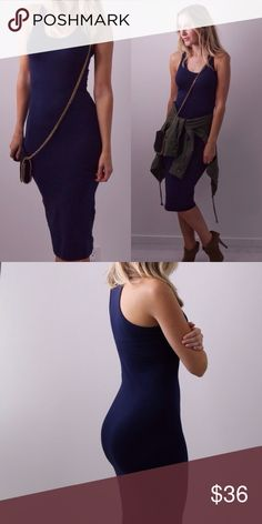 🆕Cool Navy Midi ◽️️️️️Cool navy midi dress - a wardrobe essential. Most flattering fit, hugs the body but also isn't skin tight. Very easy to walk in. Non sheer. Love the material. New without tag.  ▫Sizes available: S   M   L  ▫️Material: 92% cotton/8% spandex ▫️I am modeling size S ▫️Price firm 📷 Photos are my own Dresses Midi