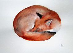Sleeping Fox, ORIGINAL watercolor MINIATURE