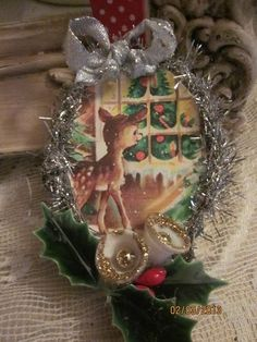 ornaments from vintage xmas cards:)
