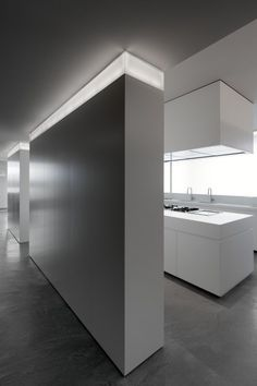 Interior Design Fascinating White Kitchen Island View From The Long Alleyway In Casa With White Wall And Unique Light Unique Brilliant LED Lights Creating Modern Interior Ornament Architecture Ombre, Light Architecture, Interior Architecture, Home Modern, Modern Interior, Interior And Exterior, Modern Wall, Interior Lighting, Home Lighting