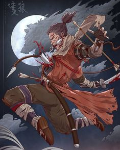 One-Armed Wolf by SaneKyle on DeviantArt Character Concept, Character Art, Concept Art, Character Design, Samurai Drawing, Samurai Artwork, Samurai Wallpaper, Dark Souls Art, Samurai Warrior