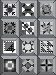 Use this Pattern to Surround 12 Quilt Blocks with Mitered Frames: Scrap Happy Sampler Quilt with Mitered Frames
