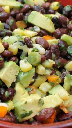 Black Bean and Corn Salad - Lake Lure Cottage Kitchen Raw Food Recipes, New Recipes, Salad Recipes, Vegetarian Recipes, Cooking Recipes, Favorite Recipes, Healthy Recipes, Clean Eating, Healthy Eating