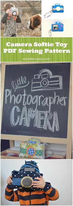 Little Photographer Camera Softie – a PDF sewing pattern for a camera toy! Swoodsonsays.com