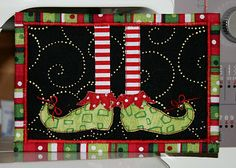 freezeframe: Christmas Fabric Postcards bells on his toes...how cute