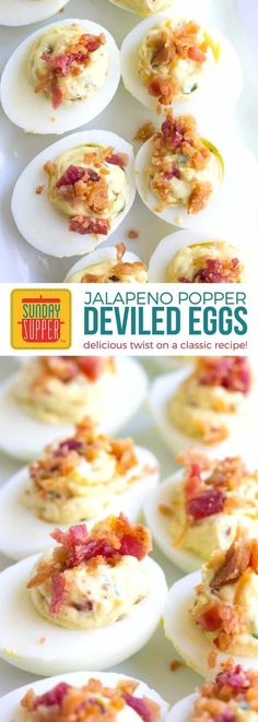 Jalapeno Popper Deviled Eggs are an easy party appetizer that's perfect for everything from game day gatherings to parties and cookouts too! A spicy twist on a classic favorite, you'll want to take these deviled eggs to all of your potluck events. Healthy Recipes, Egg Recipes, Cooking Recipes, Bacon Recipes, Potluck Recipes, Milk Recipes, Easter Recipes, Cooking Tips, Nature